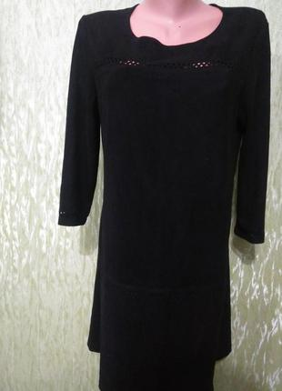 Чёрное, базовое платье -миди/под замш/стрейчевое/с перфорацией/