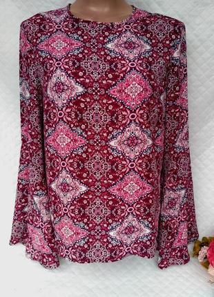 Шикарная блуза в королевский принт рукава воланы размер 10-12(42-44)