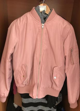 Бомбер розовый cropp