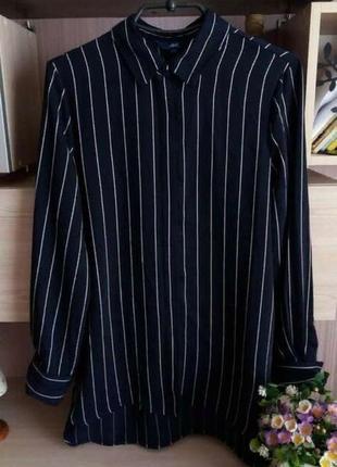 Стильная рубашка в полоску с удлиненной спинкой размер 12-14 (44-46)