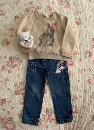 Комплект : джинсы и свитшот на девочку, 2-3 года , m&s