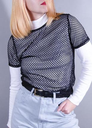 Футболка в сетку, женская футболка, черная футболка