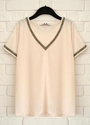 Красивая футболка обшитая бисером very uk14 в идеальном состоянии