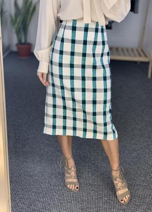 Шикарная юбка миди в клетку зеленую zara