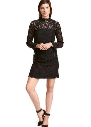 Ажурное, кружевное платье h&m