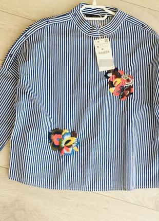 Zara рубашка с вышивкой