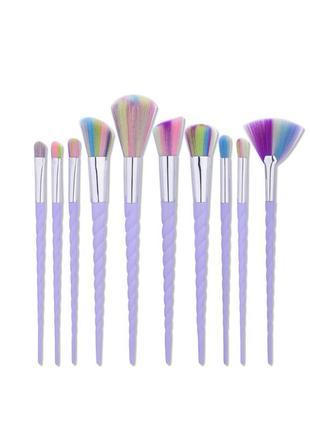 Кисти для макияжа набор 10 шт. единорог в стиле unicorn brushes pro