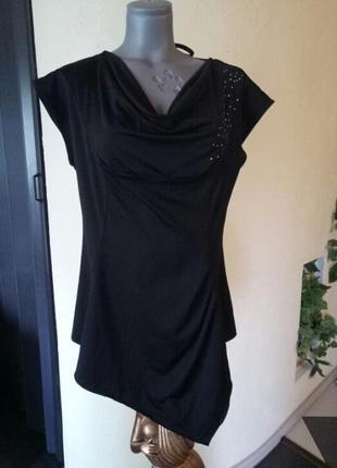 Трикотажная длинная блуза со стразами,батал
