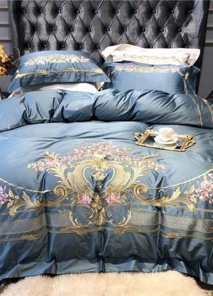 Комплект постельного белья хлопок светло синий с вышивкой