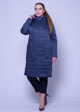 Демисезонная удлиненная куртка из атласа, 58 р.