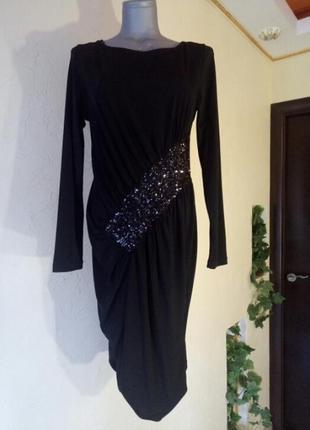 Трикотажное платье-футляр,миди,длинный рукав,пайетки