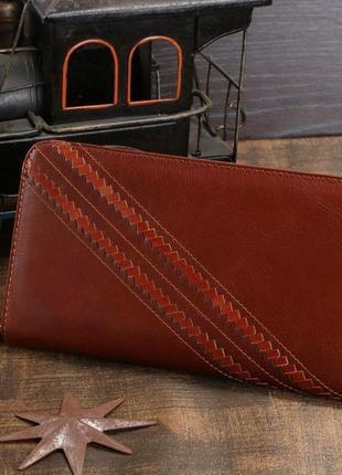 Стильный мужской клатч барсетка светло-коричневый рыжий натуральная кожа винтаж