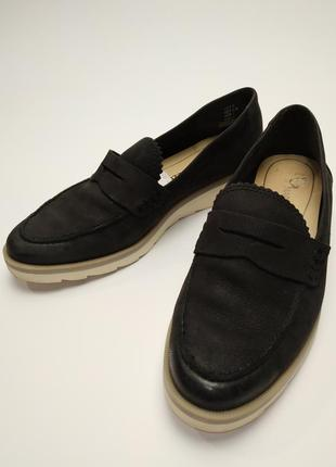 Туфли кожаные черные на платформе marco tozzi размер 38