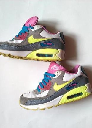 Яркие стильные женские кожанные кроссовки nike air max оригинал стелька 25см