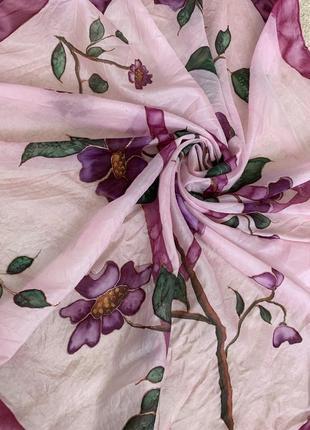 Художественная роспись батик шелковый платок шелк натуральный 100%