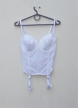 Белый сексуальный эротический корсет с подтяжками для чулок triumph 80c