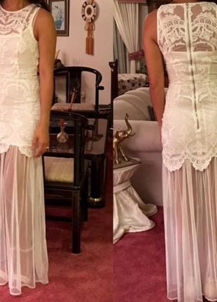 Шикарное вечернее, свадебное, нарядное кружевное платье h&m.