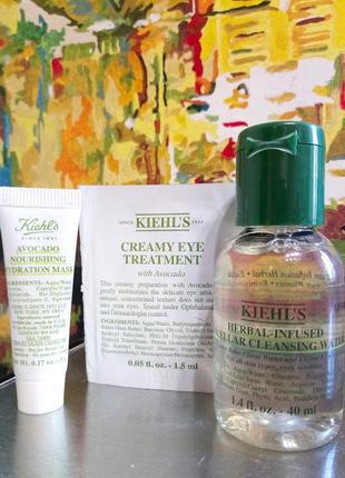 Набор увлажнение и питание кожи - мицелярка, маска и крем вокруг глаз с авокадо kiehls