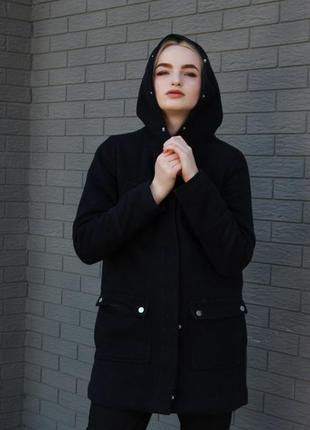 Темно-синее теплое пальто top secret