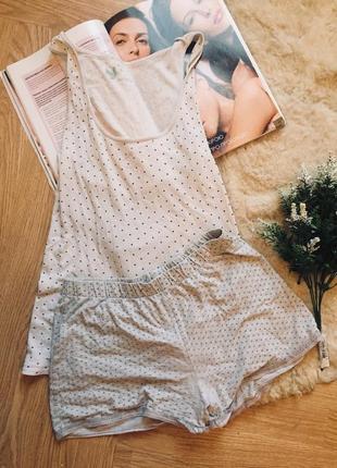 Комплект для дома и сна в горошек пижама