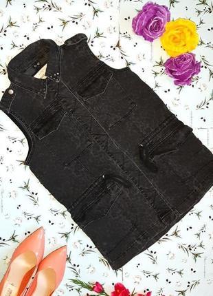 Трендовая джинсовка, джинсовая куртка жилетка river island оверсайз, размер 42 - 44