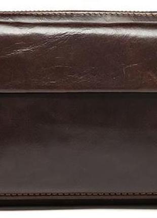 Мужской клатч компактная барсетка натуральная кожа коричневый стильный