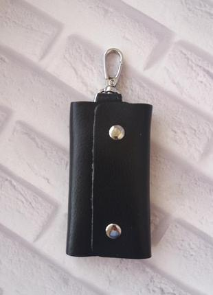 Кожаная ключница шкіряна ключниця чорна из натуральной кожи кожа шкіра