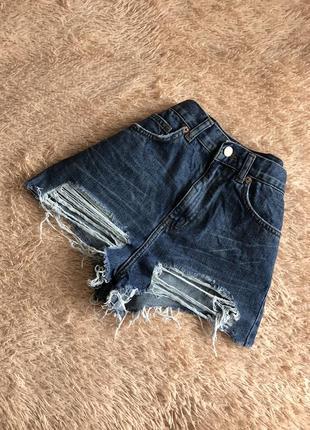 Джинсовые шорты с высокой посадкой topshop 100%хлопок