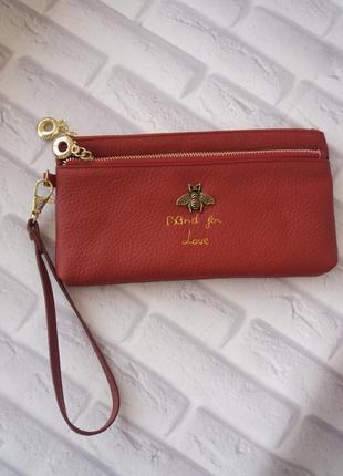 Кожаный кошелек из натуральной кожи женский тонкий клатч на руку