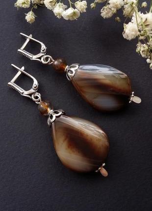 Агатовые коричневые серебряные серьги ручной работы