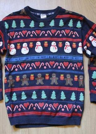 Новогодний свитер h&m на 4-6 лет