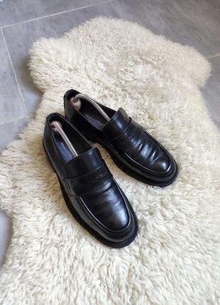 Туфли лоферы массивные черные в мужском стиле marc o polo