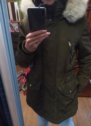 Куртка парка с мехом 44-46 размер zara