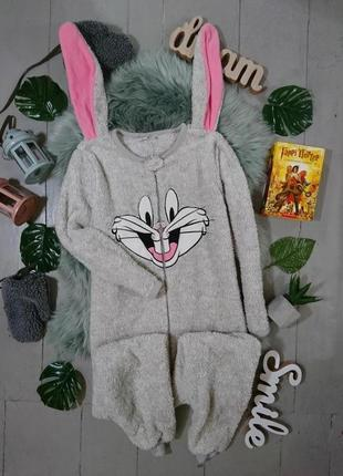 Теплая флисовая пижама кигуруми слип кролик багз банни №44
