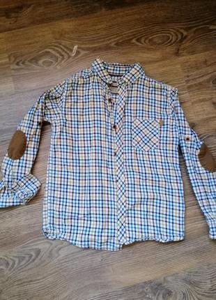 Тёплая рубашка на мальчика 6-7 лет, 116-122 см