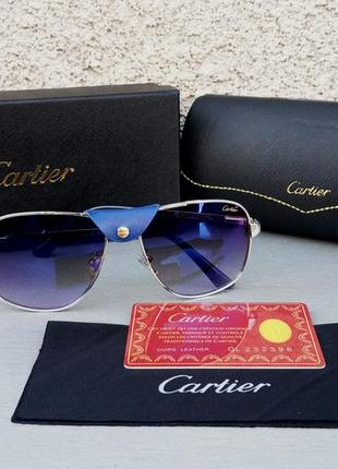 Cartier pilot очки мужские солнцезащитные синие зеркальные
