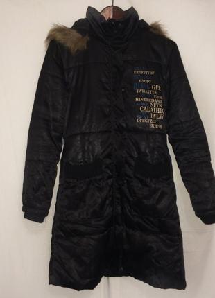 Чёрное пальто на холлофайбере {европейская зима} размер м