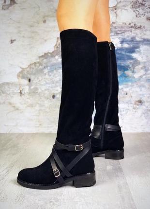 ❤ женские черные демисезонные осенние замшевые ботинки сапоги ботильоны на байке ❤