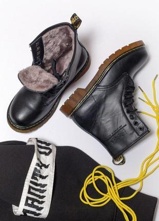 Шикарные женские кожаные ботинки/ сапоги dr. martens 1460 black 😍 (с мехом)