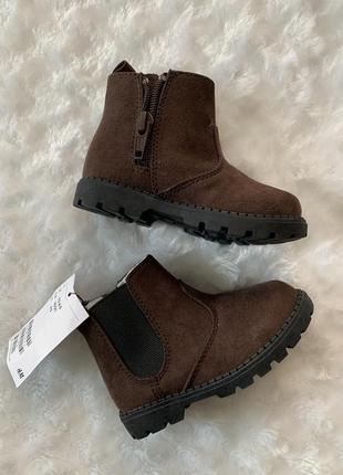 Новые коричневые демисезонные ботиночки h&m стелька 13 см
