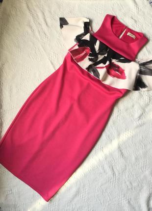 Яркое платье 💃🏻❤️  мини миди розовое открытые плечи с воланом вечернее нарядное