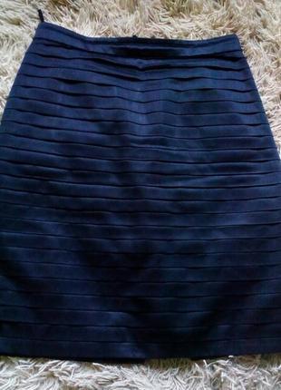 Атласная юбка карандаш с подюбником