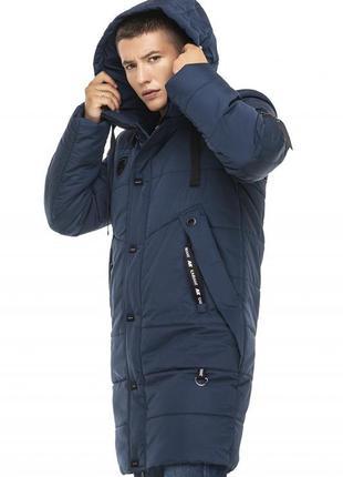 Зимняя удлиненная куртка синий