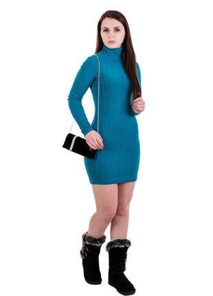 Женское платье - гольф туника длинный рукав бирюзовая короткая осень - зима gepur