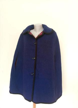 Теплое двустороннее пончо пальто шерсть