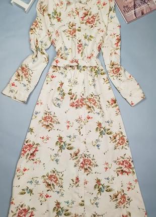 Джинное платье рубашка в цветочный принт  primark
