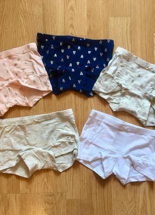 Фирменные трусы - шортики для девочки h&m, р. 1,5-2 и 2-4 г, комплект 5 шт