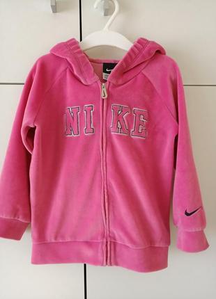 Оригінал nike спортивний рожевий велюровий костюм для дівчинки 24 36 місяців