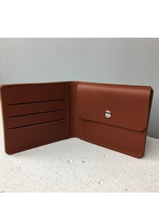 Компактный кожаный кошелек, hand made, карамельный с монетницей