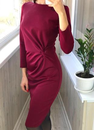 Красивое винное платье миди с рукавами на осень марсала